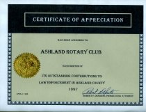 Image of Certificate- presented to Ashland Rotary Club in recognition of its outstanding contribution to law enforcement in Ashland County 1997 - Certificate