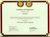 Image of Certificate-RotaractClub, Rotary International.  Certificate of Organization The Rotaract Club of Ashland.  Dated April 2, 2003. - Certificate