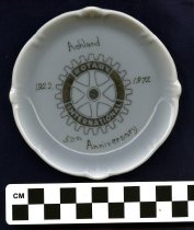 Image of Ceramic ashtray-white color with gold lettering-Ashland 50th anniversary 19