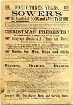 Image of BCA10-191879Boardside - Boardside/handbill-Forty-three years Sower's old established book and variety store 64 Main Street, Norristown, [Pennsylvania] 1879.