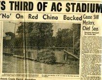 Image of 09-10newspaper19530603 - Newspaper clipping Ashland Times Gazette June 3, 1953       Fire destroys thrid of AC stadium