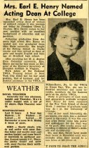 Image of 09-10newspaper19531216 - Newspaper clipping Ashland Times Gazette December 16, 1953     Mrs. Earl E. Henry named acting dean at college