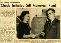 Image of 09-10newspaper19581219 - Newspaper clipping Ashland Times Gazette December 19, 1958      Check initiates Gill memorial fund