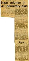 Image of 09-10newspaper19631002 - Newspaper clipping Ashland Times Gazette October 2, 1963  Near solution in AC dormitory plan