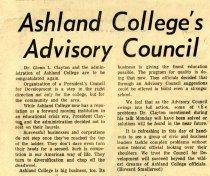 Image of 09-10newspaper19631120 - Newspaper clipping Ashland Times Gazette November 20, 1963 Ashland College's Advisory Council
