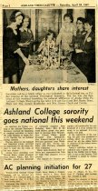 Image of 09-10newspaper19670429 - Newspaper clipping Ashland Times Gazette April 29, 1967  Ashland College sorority goes national this weekend
