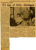 Image of 09-10newspaper19671209 - Newspaper clipping Ashland Times Gazette December 9, 1967                 It's age of laity, dialogue