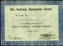 Image of Certificate the Ashland Alcoholism Center this certifies that Phi Mu Sorority has successfully participated in the Ashland Alcoholism awareness workshop February 7-10, 1977 - Certificate