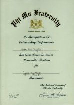 Image of Certificate Phi Mu Fraternity in recognition of outstanding performance Delta Phi chapter has been chosen to receive honorable mention for Aglaia reporting 1982-1984 biennium  - Certificate