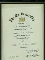 Image of Certificate from Phi Mu National Headquarters for Honorable Mention for Phi Development 1982-1984. Signed by Linda B. Litter.  - Certificate