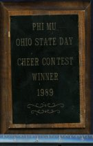 Image of Award wood plaque with metal plate is lettered Phi Mu Ohio State Day cheer