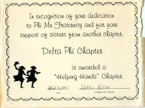 Image of Certificate In recognittion of your dedication to Phi Mu Fraternity and for