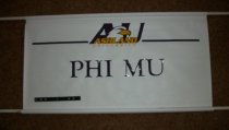 Image of Banner white color with purple and gold lettering Ashland University Phi Mu. - Banner