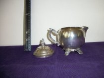 Image of Table service ware silver plated cream pitcher with detached lid.   - Pitcher, Cream