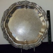 Image of Table sevice ware silver serving tray 14 inch diameter. - Table Service ware