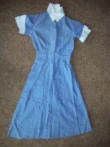 Image of Uniform three pieces.  Blue cotton shirt waist dress with white collar and cuffs.  - nurses uniform dress
