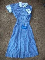 Image of Blue cotton short sleeve shirt waist dress. Two piece white cotton apron. - nurses uniform dress