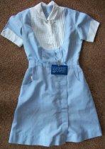 Image of Light blue permanent press cotton short sleeve shirt waist dress with white collar cuffs and pin tucked yoke. - nurses uniform dress