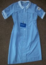 Image of Unknown Uniform.  Light blue cotton short sleeve dress. - nurses uniform dress