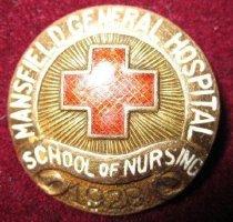Image of Mansfield General Hospital School of Nursing pin 1928. - Nursing pin