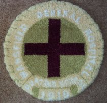 Image of Rug, latch hook donated by the Mansfield General Hospital class of nurses 1978 or 1979. - Rug