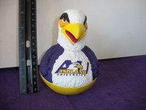 Image of Eagle plastic toy, painted white and purple and with gold colored accents.  Has the name Ashland University inscribed on the front.   - Objects Collection