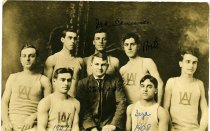 Image of Photograph men's basketball Ashland College, Ashland, Ohio 1908.