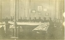 Image of Photograph,  group of men at dining tables in Philo Hall, Ashland College,