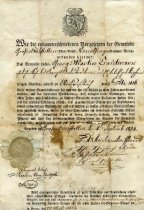 Image of Certificate of residence for George Martin Troutman 1834.