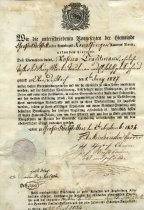 Image of Certificate of residence for Rosina Troutman 1834.