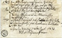 Image of Baptismal certificate for Rosina born May 24, 827.