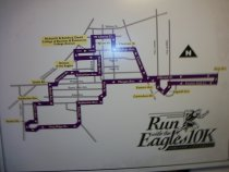 Image of Posters on foam core board-Run with the eagles 10K Ashland University, Ashland University Eagle Mile Challenge, Ashland University 5K city walk.  Map with directions of event, Ashland, Ohio.   - Poster
