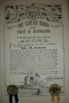 Image of Certificate The great navy of nebraska presents to John M. Ashbrook  this certificate on November 1, 1957. - Certificate