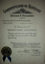 Image of Certificate from the Commonwealth of Kentuck to John M. Ashbrook from the Kentuck Governor, Edward T. Breathitt. - Certificate