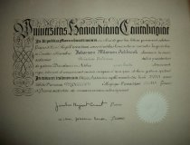 Image of Diploma-Harvard University issued to John Ashbrook for the Bachelor of Arts-Political Science June 19, 1952. - Diploma