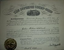 Image of Certificate issued by the Supreme Court of Ohio to John M. Ashbrook as an Attorney to practice law in Ohio.  Issued August 31, 1955. - Certificate