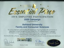 Image of Award presented to Ashland University Family & Consumer Sciences October 7, 2008 from United Way Ashland County, Ashland, Ohio. - Award