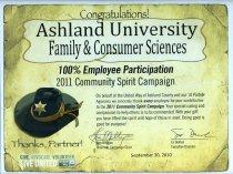 Image of Award presented to Ashland University Family & Consumer Sciences September 30, 2010 from United Way Ashland County, Ashland, Ohio. - Award