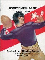 Image of 2011-021936football1107 - Homecoming Game Official Program Ashland vs Bowling Green Redwood Stadium November 7, 1936.