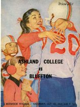 Image of Ashland College vs Bluffton Redwood Starium Saturday, Oct. 27, 1962 8:00 P.