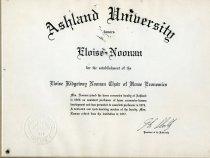 Image of Citation-Ashland University honors Eloise Noonan for the establishment of the Eloise Ridgeway Noonan Chair of Home Economics.   - Citation