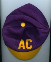 Image of Hat beany/dink.  Purple with gold color accent and letters AC, has gold col
