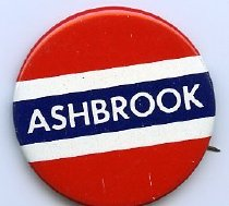 Image of Campaign button-Ashbrook red, white and blue colors. - Button