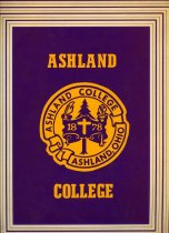 Image of Notebook/paper folder purple and gold color with Ashland College seal and lettering on the front cover. - Notebook