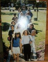 Image of Photograph oversized-Ashland University campus view students walking on pat