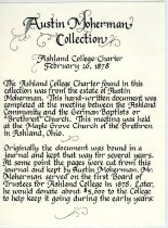Image of Ashland College Charter 1878