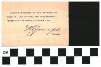 Image of Aladdin Temple Columbus, OH membership card 1922 reverse side