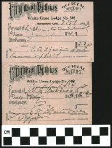 Image of White Cross Lodge receipt 1922, 1923 Johnstown, OH.