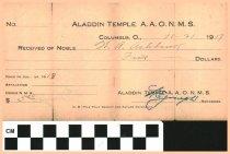 Image of Aladdin receipt November 20, 1917