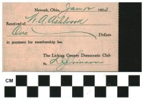 Image of Licking County Ohio Democratic party receipt 1923